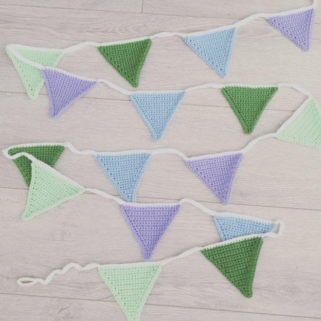 handgemaakte vlaggetjeslijn haakpatroon lila laya